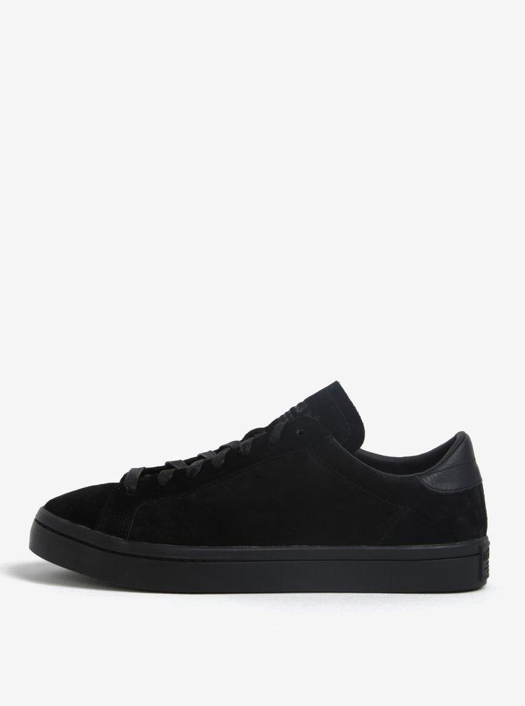 Pantofi sport negri din piele intoarsa pentru barbati adidas Originals Courtvantage
