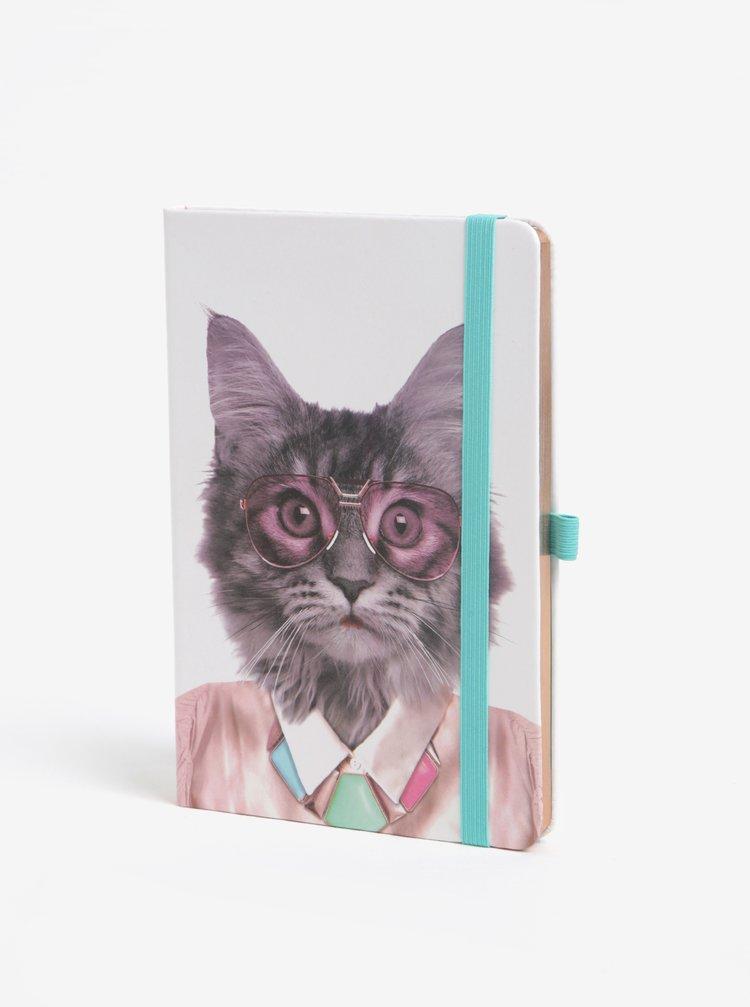 Krémový zápisník s motivem kočky Mustard A5