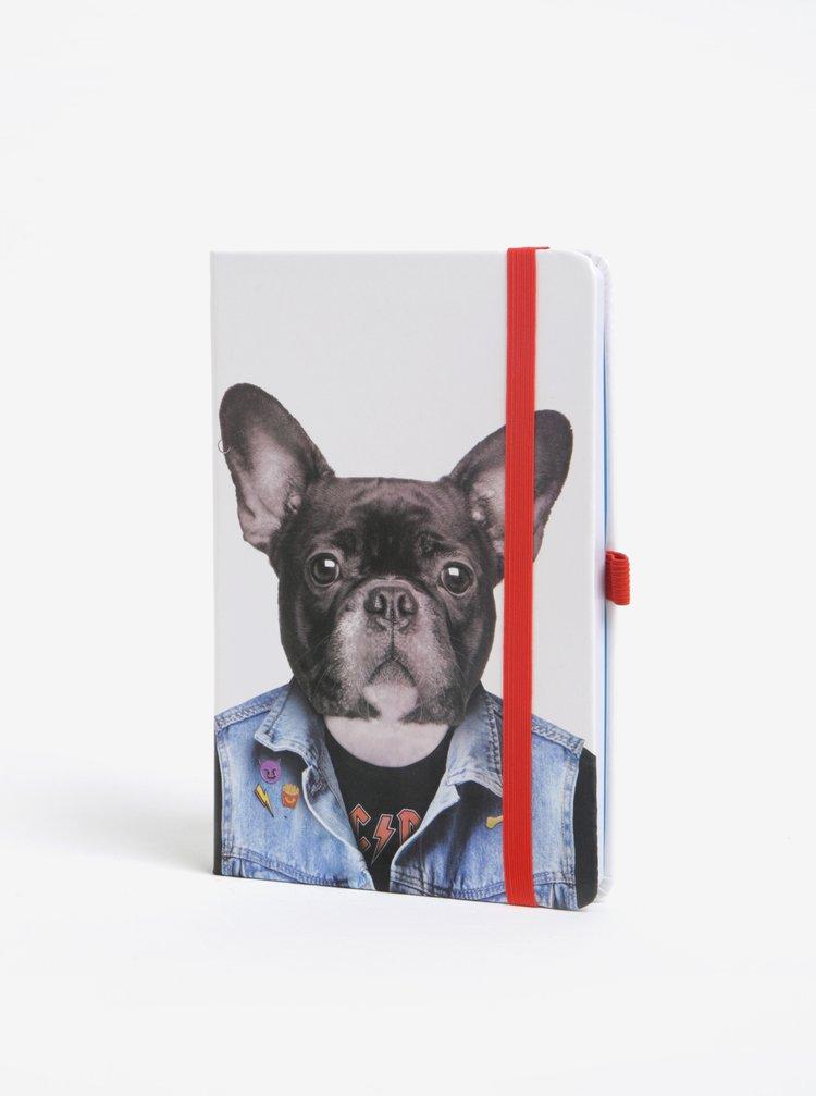 Krémový zápisník s motivem psa Mustard A5