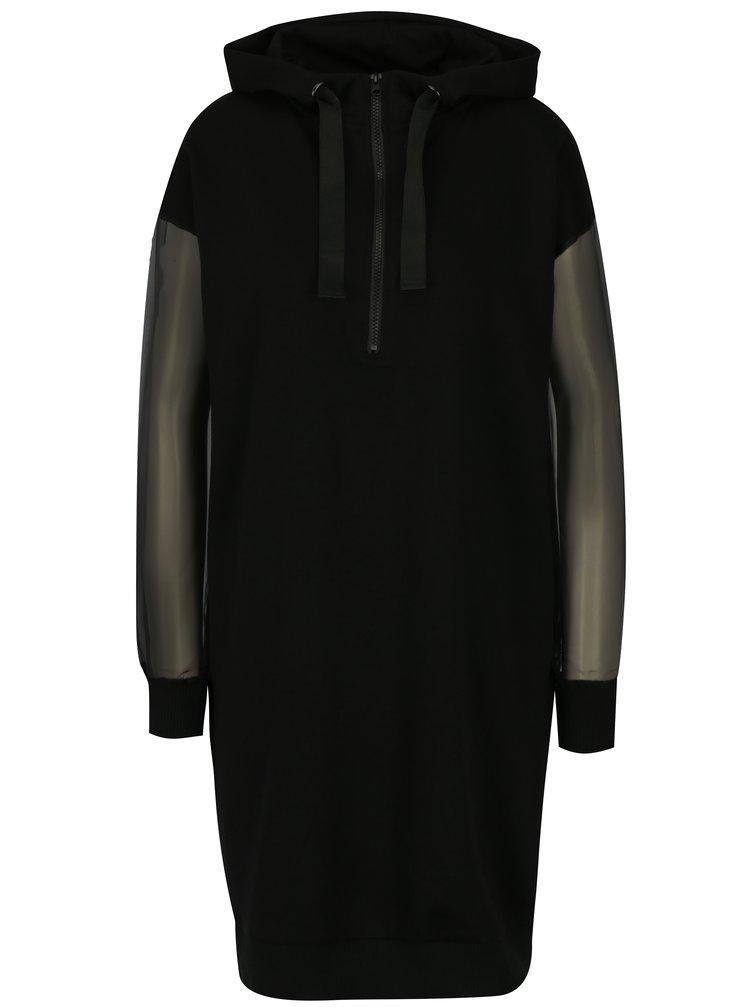 Černé mikinové šaty s průsvitnými rukávy Noisy May Harper
