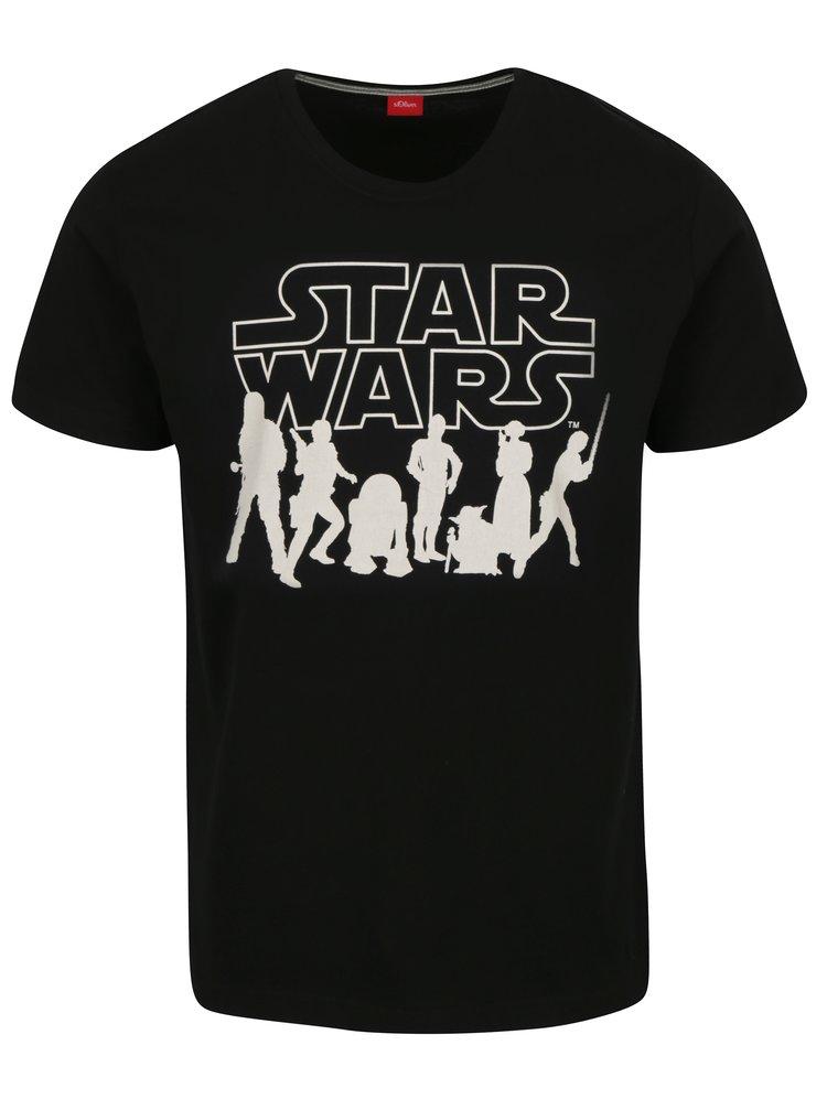 Černé pánské slim fit tričko s motivem Star Wars s.Oliver