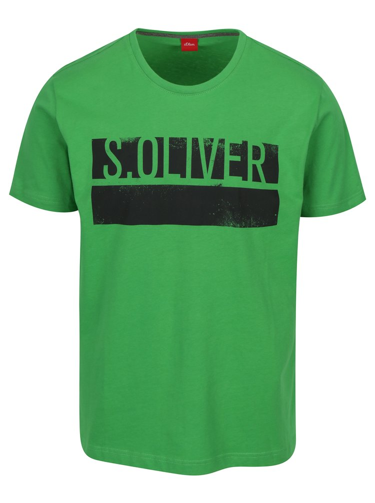 Zelené pánské regular fit tričko s potiskem s.Oliver