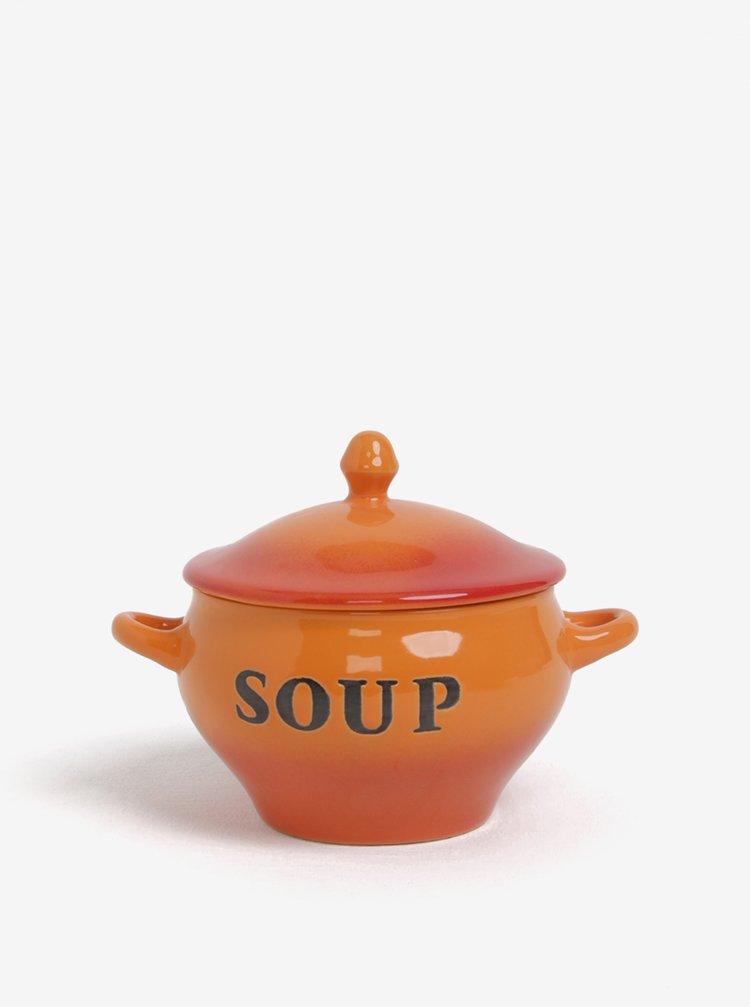 Oranžová keramická miska se lžičkou na polévku CGB