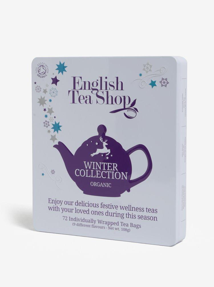 Bílá plechová dárková kazeta čajů English Tea Shop