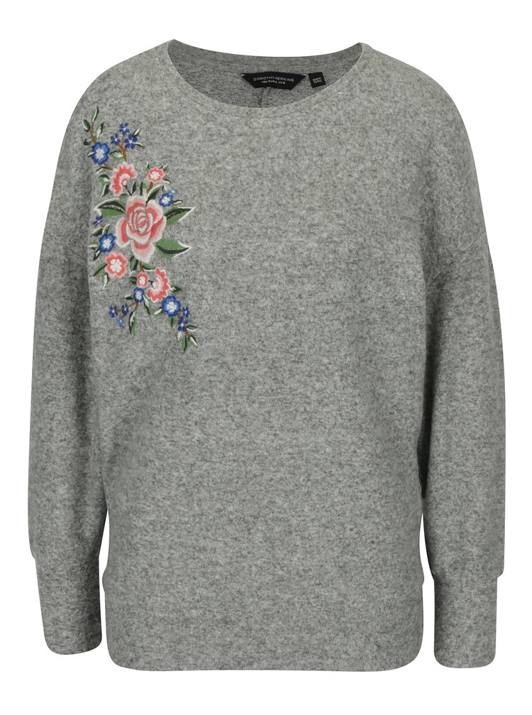 Bluza gri deschis cu maneci raglan si broderie florala Dorothy Perkins