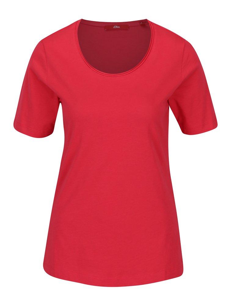 Tmavě růžové dámské basic tričko s krátkým rukávem s.Oliver