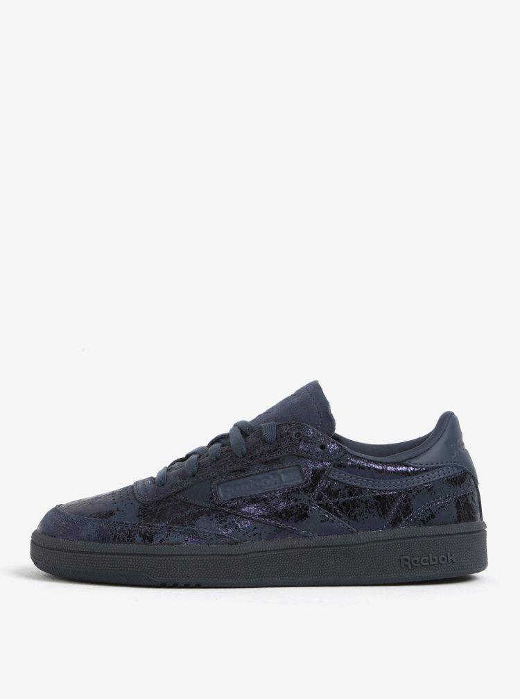 Pantofi sport bleumarin metalizat din piele Reebok