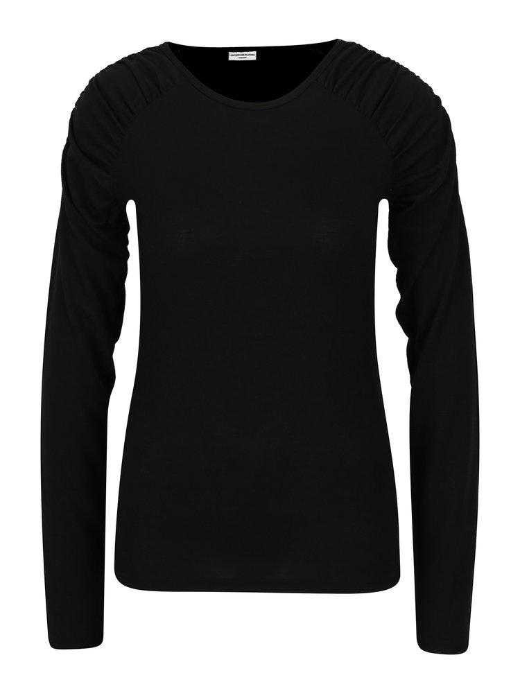 Bluza neagra cu pliuri pe umeri Jacqueline de Yong Adora