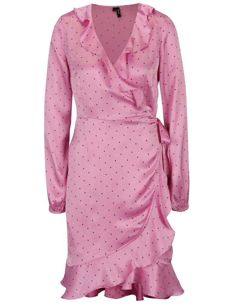 Rochie roz cu model suprapus VERO MODA Henna