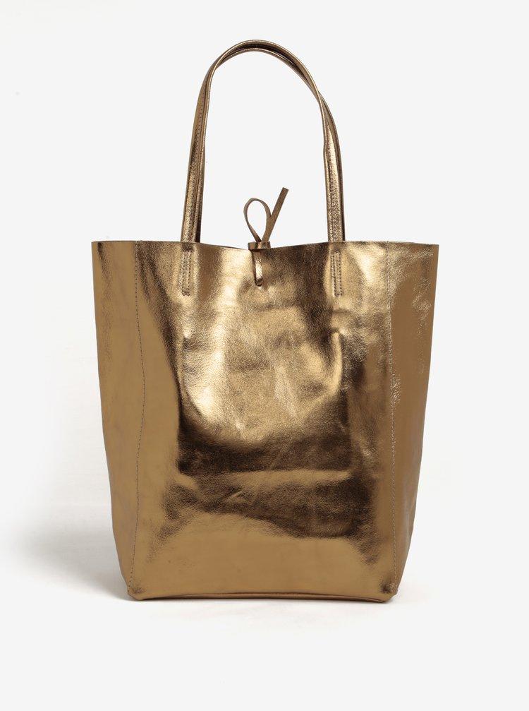 Kožený lesklý shopper v tmavě zlaté barvě ZOOT Simple