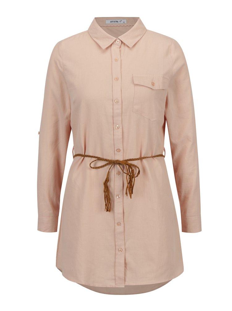 Camasa lunga roz cu snur in talie - Haily's Larissa