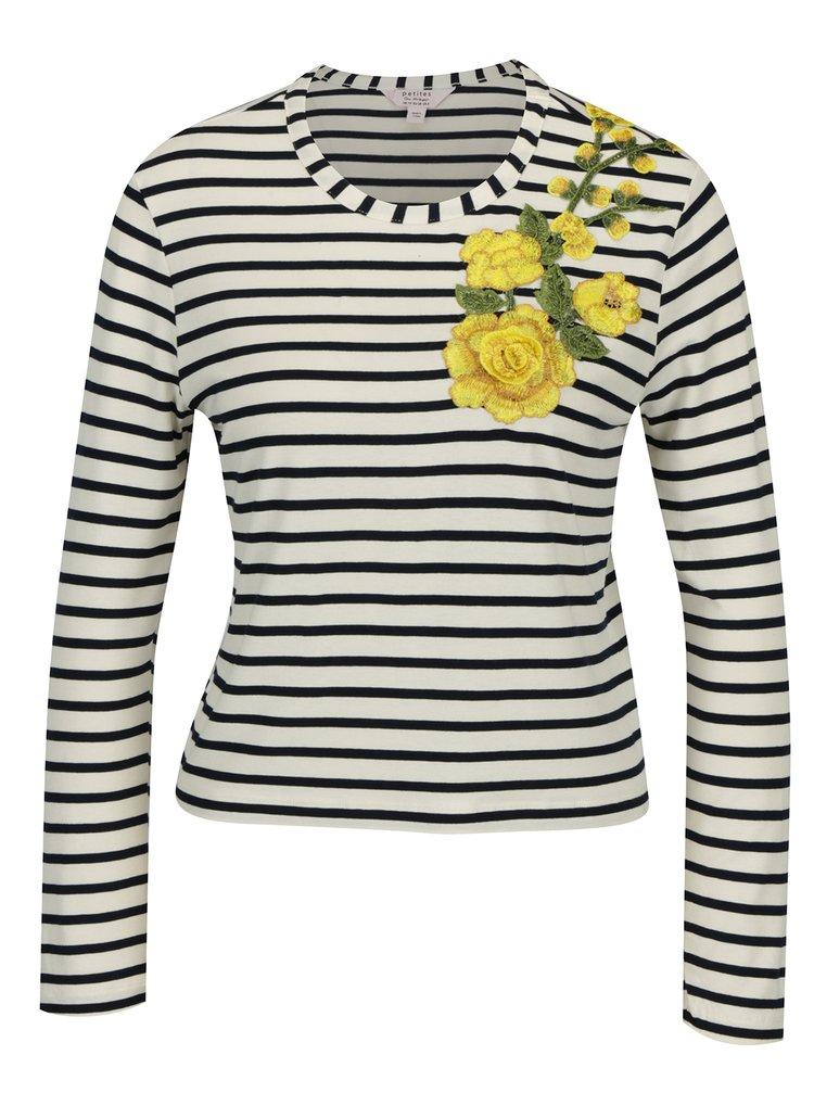 Modro-krémové pruhované tričko s nášivkou Miss Selfridge