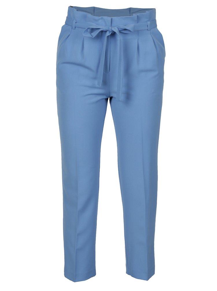 Modré zkrácené kalhoty se zavazováním v pase Miss Selfridge