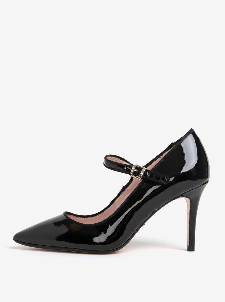 Pantofi negri cu bareta si aspect lacuit Dune London Abbey
