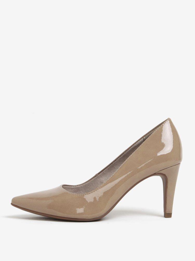 Pantofi de lac bej cu toc inalt - Tamaris