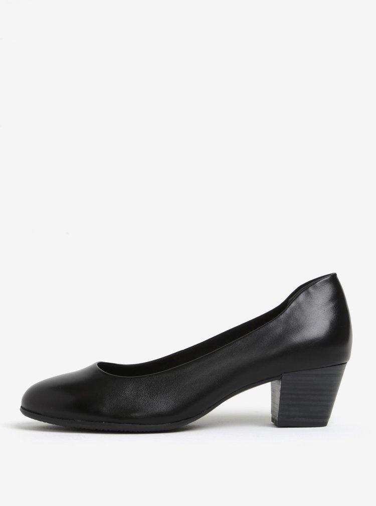 Pantofi negri din piele naturala cu toc stabil - Tamaris