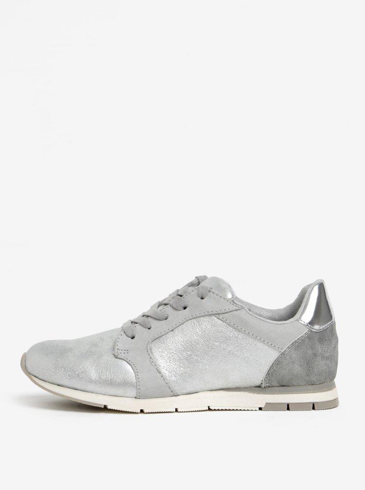 Tenisky v šedé a stříbrné barvě Tamaris