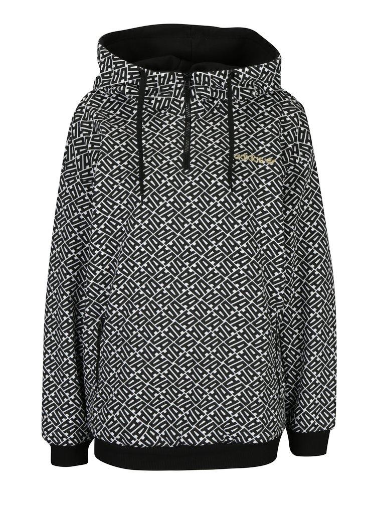 Bílo-černá dámská vzorovaná mikina s kapucí adidas Originals