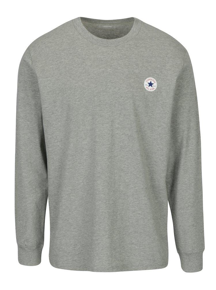 Šedé pánské žíhané tričko s dlouhým rukávem Converse Tee Cuff