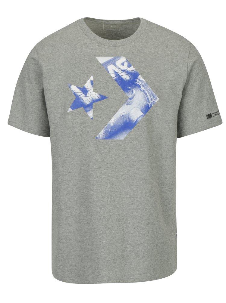 Šedé pánské tričko s potiskem Converse Cons Star Chevron Photo