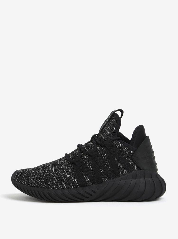 Pantofi sport negru cu argintiu pentru femei- adidas Originals Tubular Dawn
