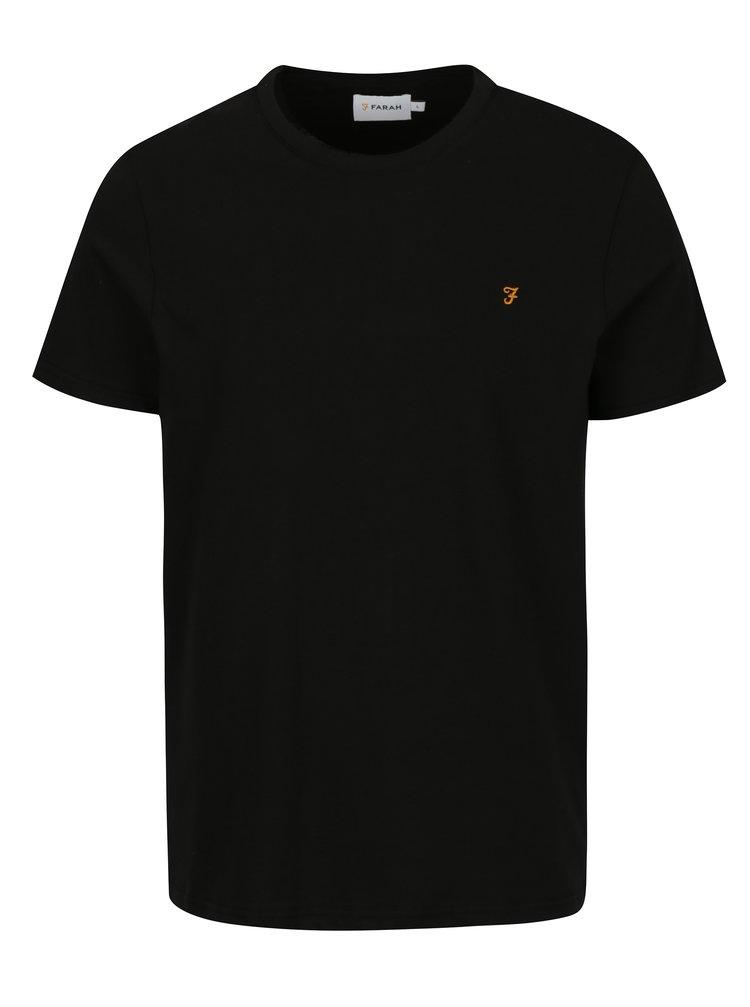 Černé basic slim fit tričko Farah Denny