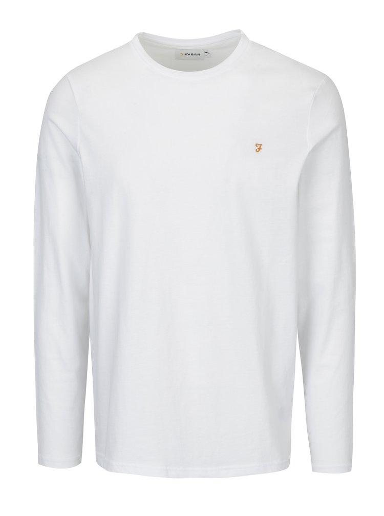 Bílé slim fit basic tričko s dlouhým rukávem Farah Denny