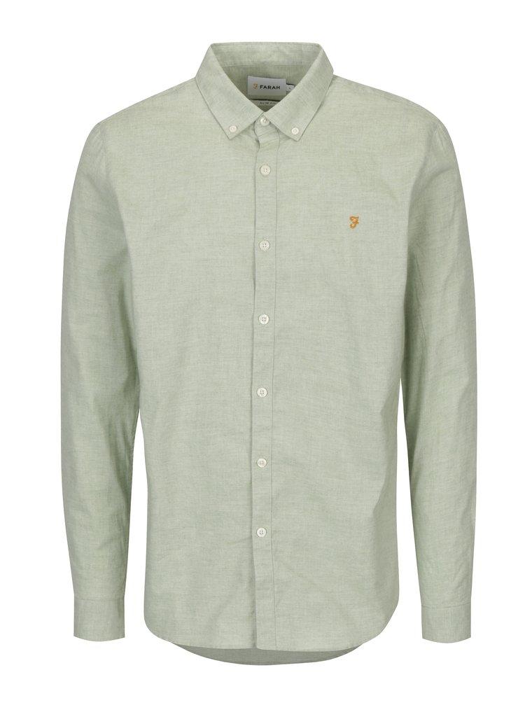 Camasa slim fit verde deschis cu guler buttons-down Farah Steen