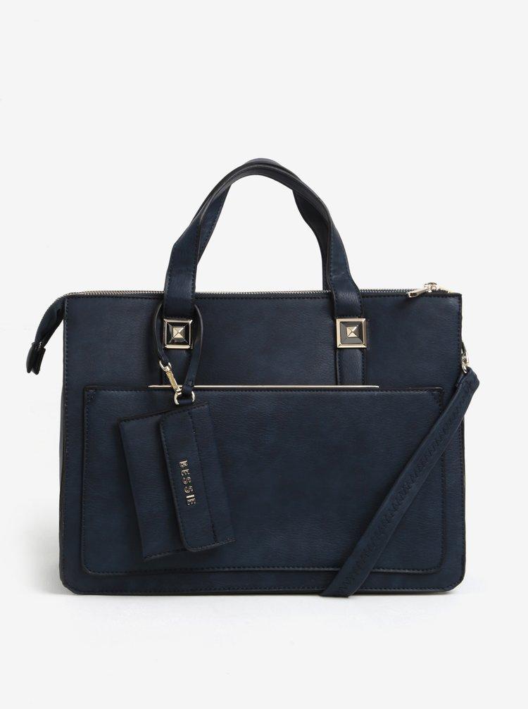 Tmavě modrá velká kabelka s malým pouzdrem na doklady Bessie London
