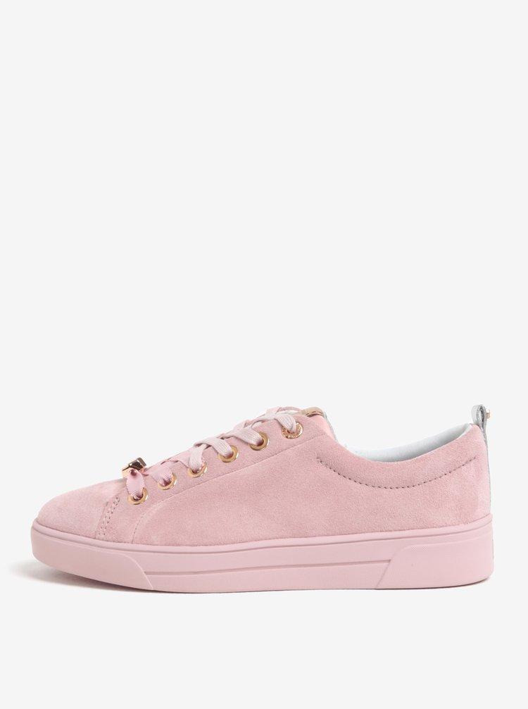 Tenisi roz cu aspect de piele intoarsa - Ted Baker Kellei S