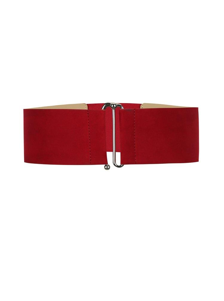 Červený široký pásek v semišové úpravě Pieces Monia