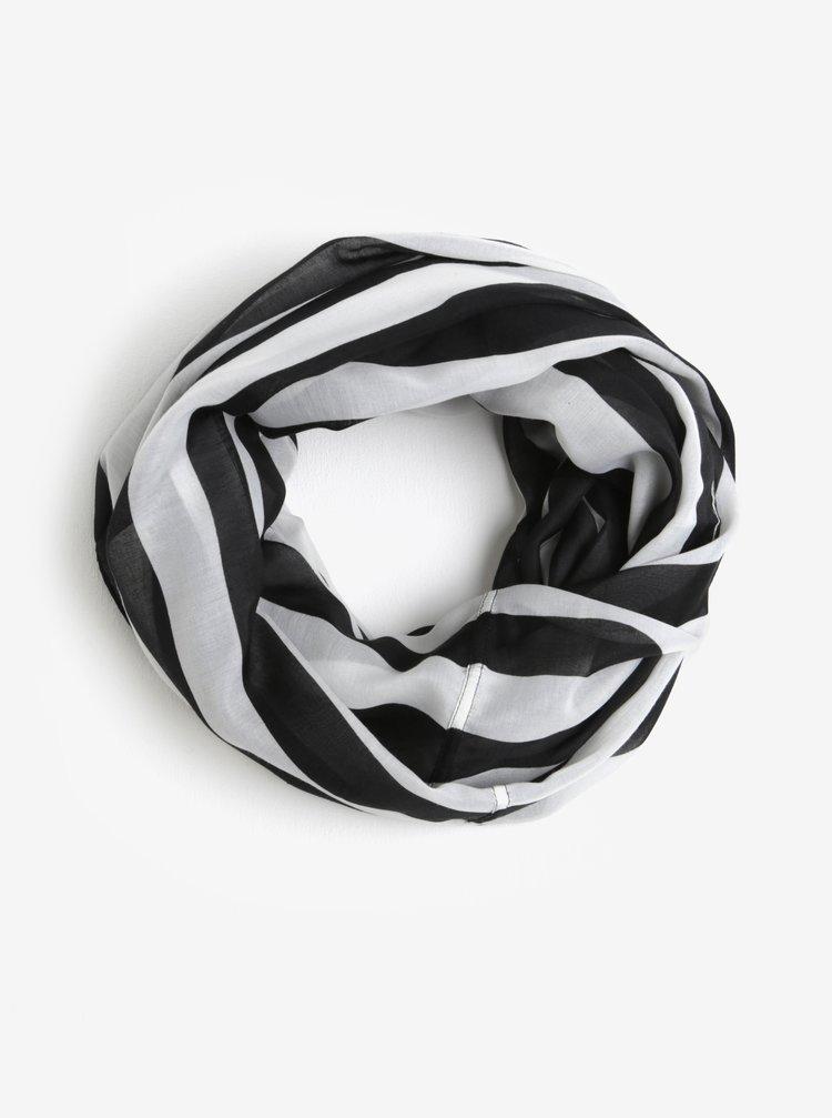 Bílo-černý pruhovaný dutý šátek Pieces Strila