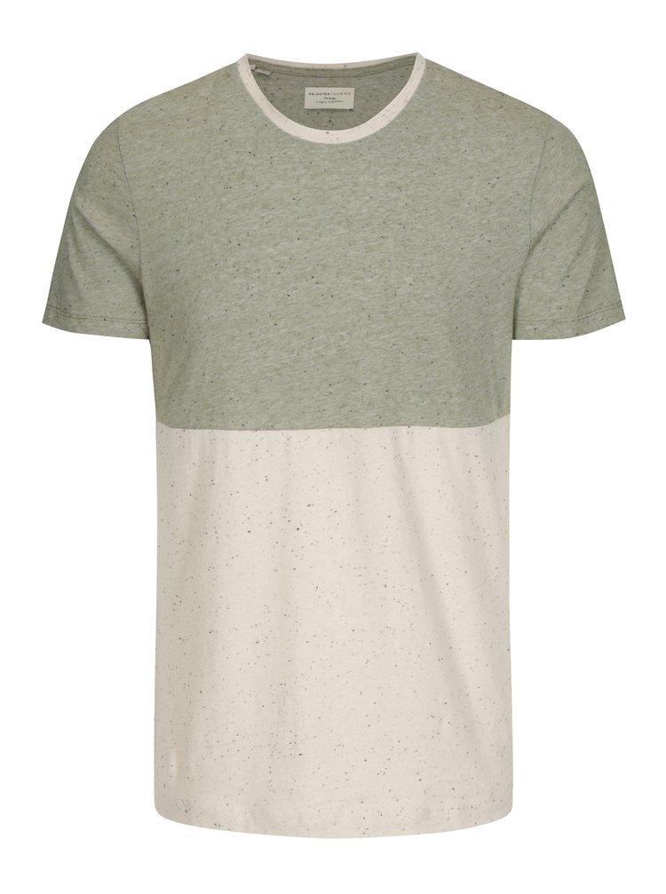 Béžovo-zelené žíhané tričko Selected Homme Tim