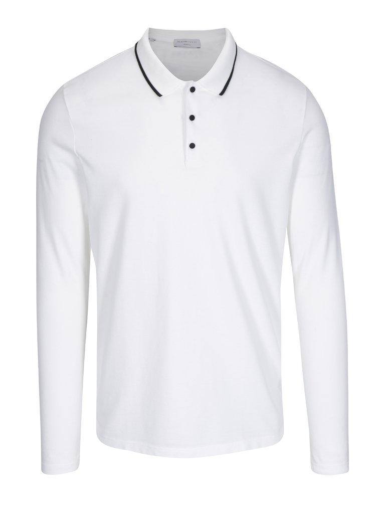 Bílé polo tričko s dlouhým rukávem Selected Homme Gio