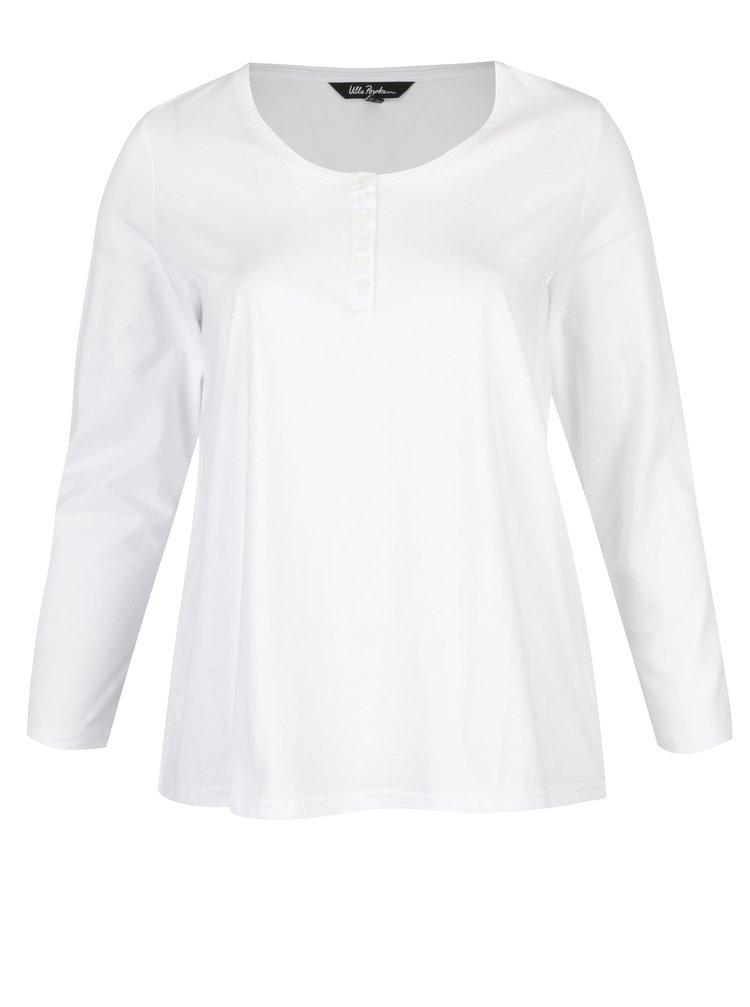Bílé tričko s dlouhým rukávem a knoflíky Ulla Popken