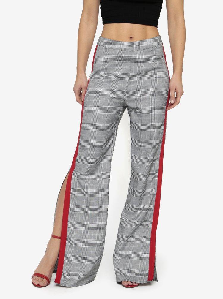 Pantaloni negru & alb cu dunga contrastanta si talie inalta - MISSGUIDED