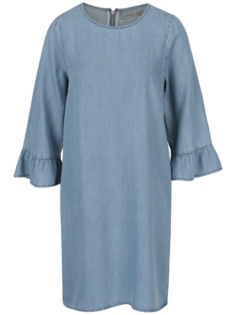 Modré džínové šaty s volány na rukávech VERO MODA Lissy