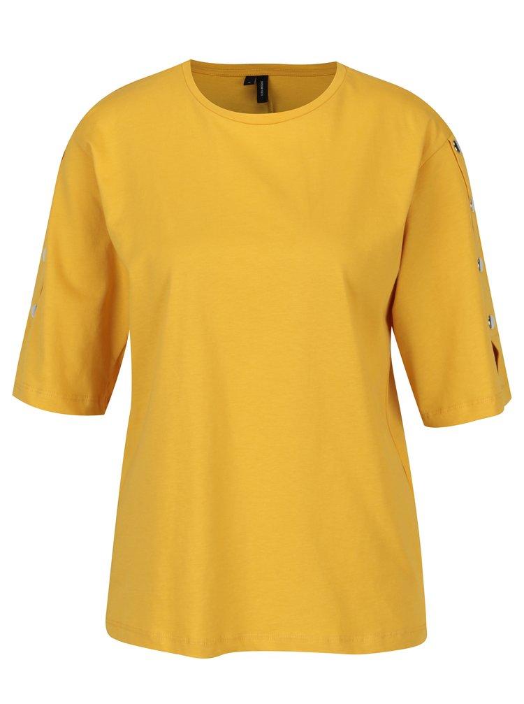 Tricou galben cu aplicatii pe maneci - VERO MODA Jane