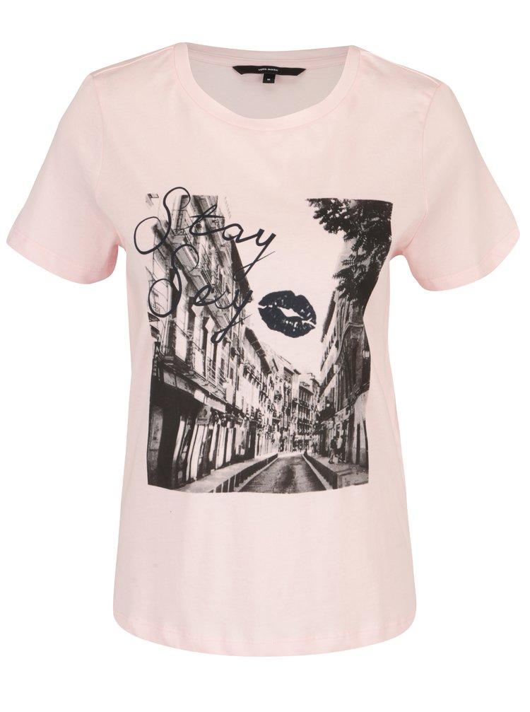 Tricou din bumbac roz deschis cu print - VERO MODA Nelik