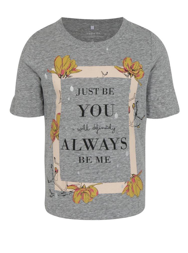 Světle šedé holčičí žíhané tričko s potiskem name it Jobila