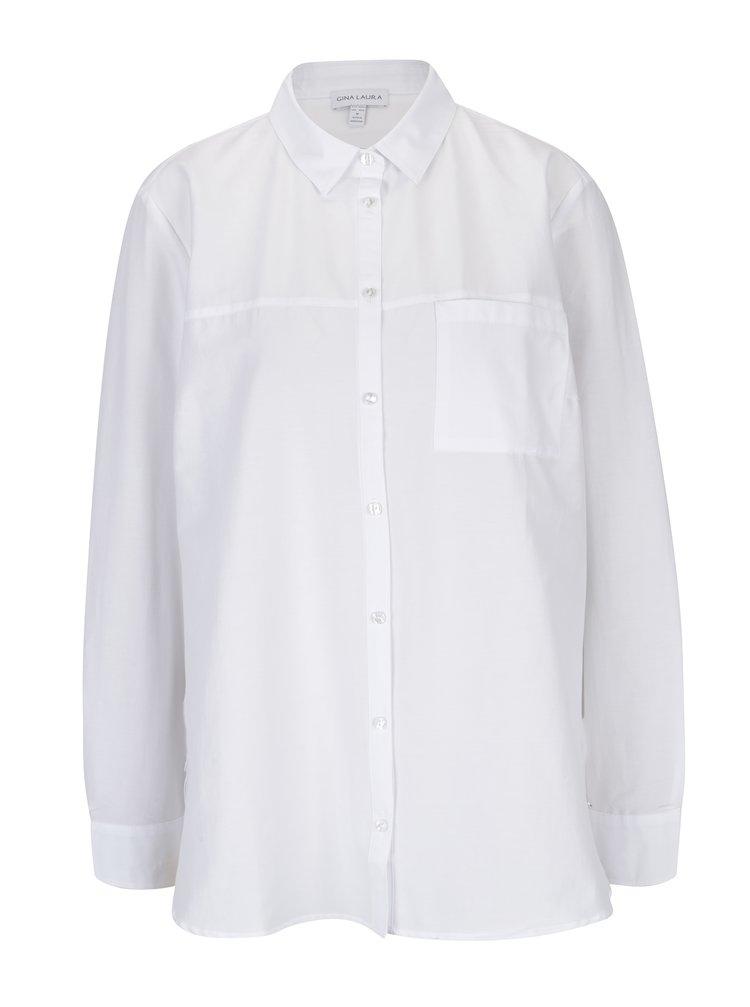 Bílá košile s náprsní kapsou Gina Laura