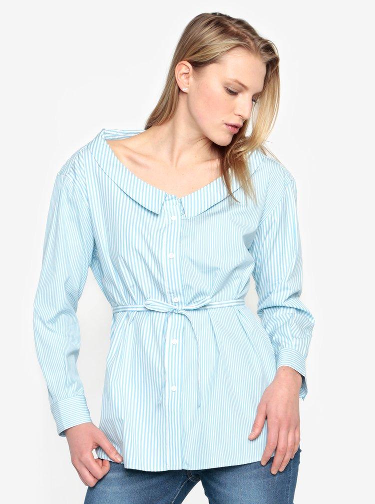Camasa bleu cu dungi crem si snur in talie - French Connection Serrana