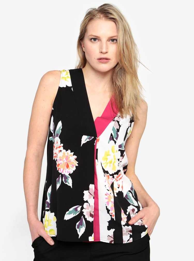 Top negru subtire cu print floral - French Connection Enoshima