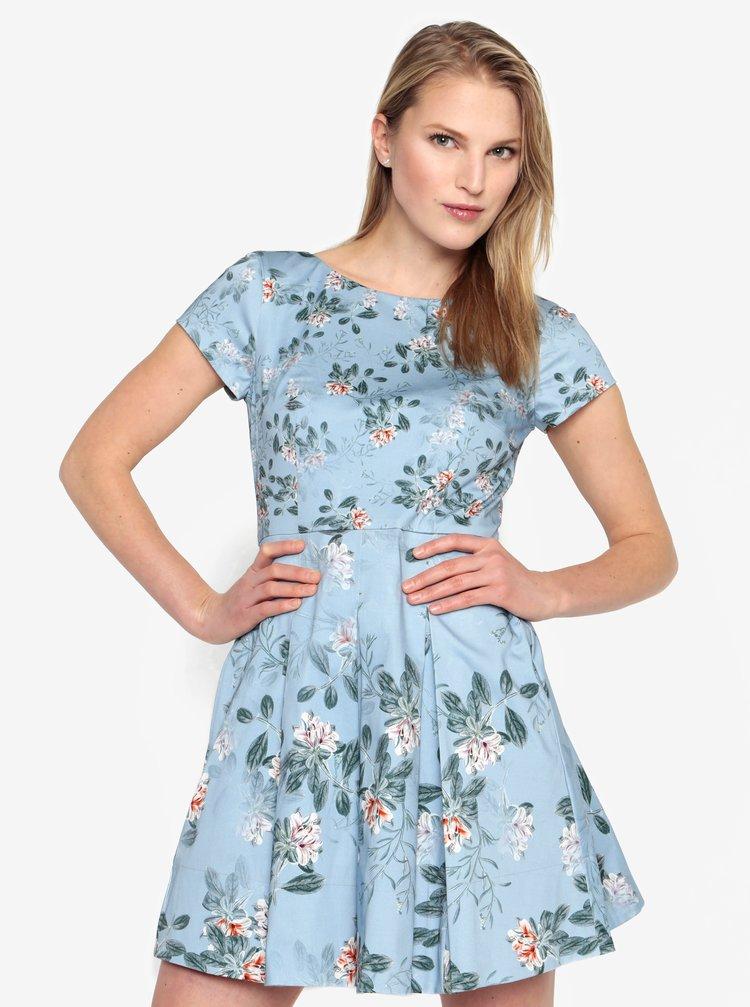 Rochie albastra cu print floral si pliseuri - French Connection Kioa