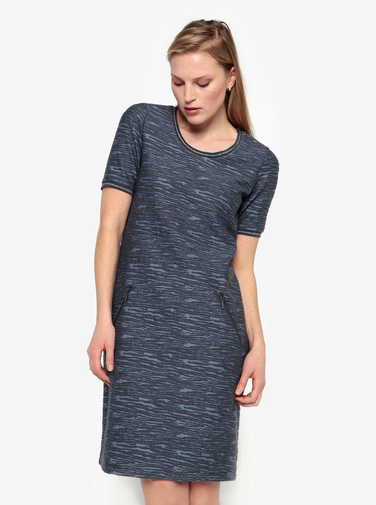 Rochie albastra cu model si maneci scurte - Yest