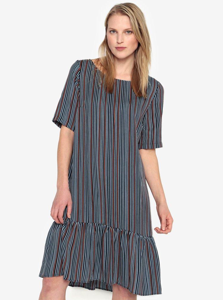 Tmavě modré pruhované šaty s volánem Selected Femme Elisa