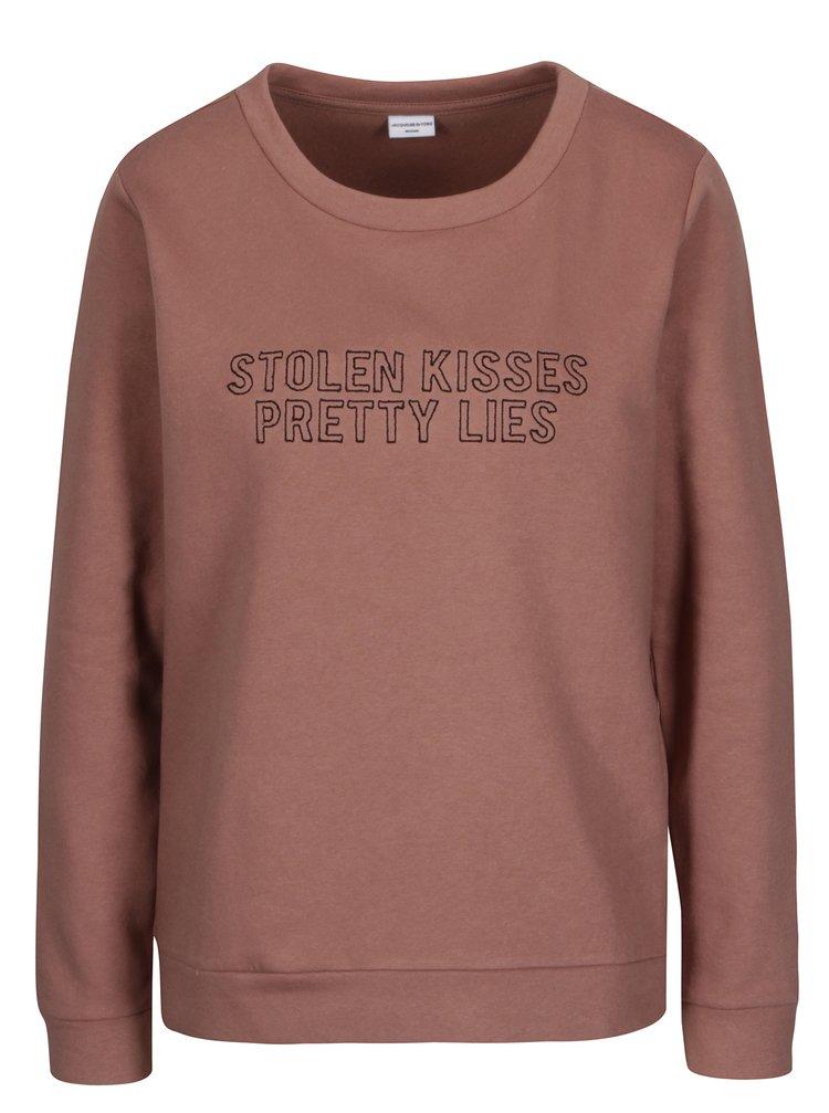 Bluza roz prafuit cu model text  Jacqueline de Yong Tori