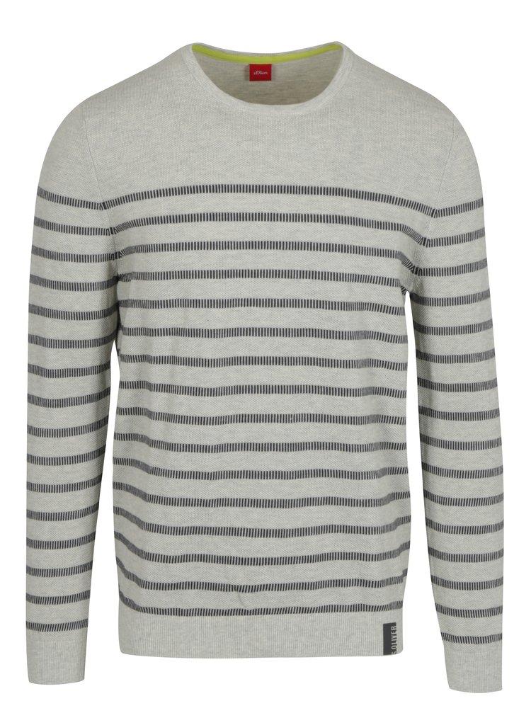 Krémový pánsky pruhovaný sveter s.Oliver