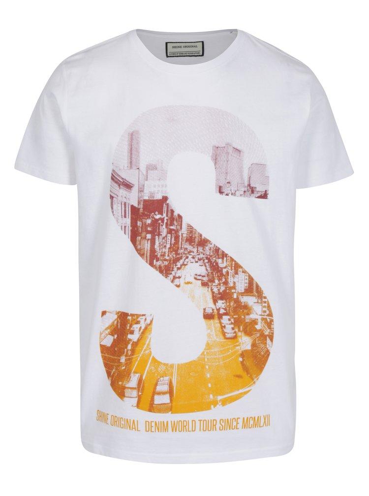 Bílé tričko s potiskem S Shine Original