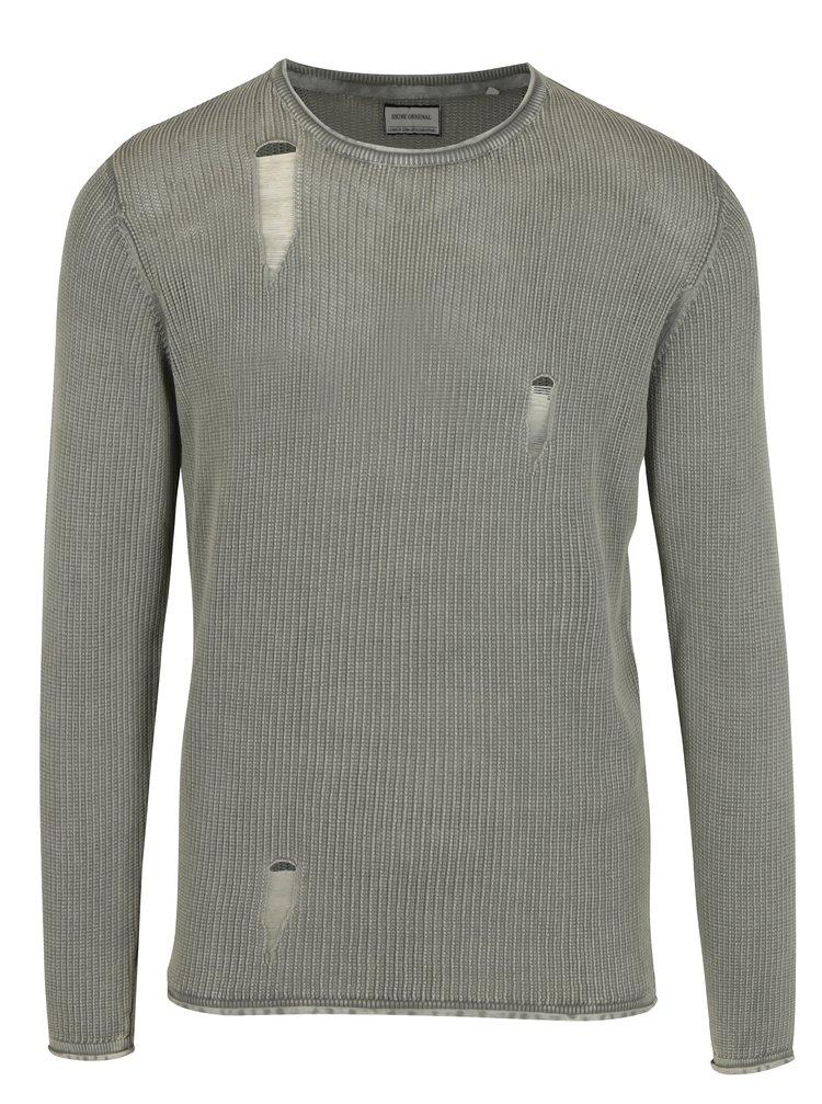 Béžový žebrovaný svetr s potrhaným efektem Shine Original